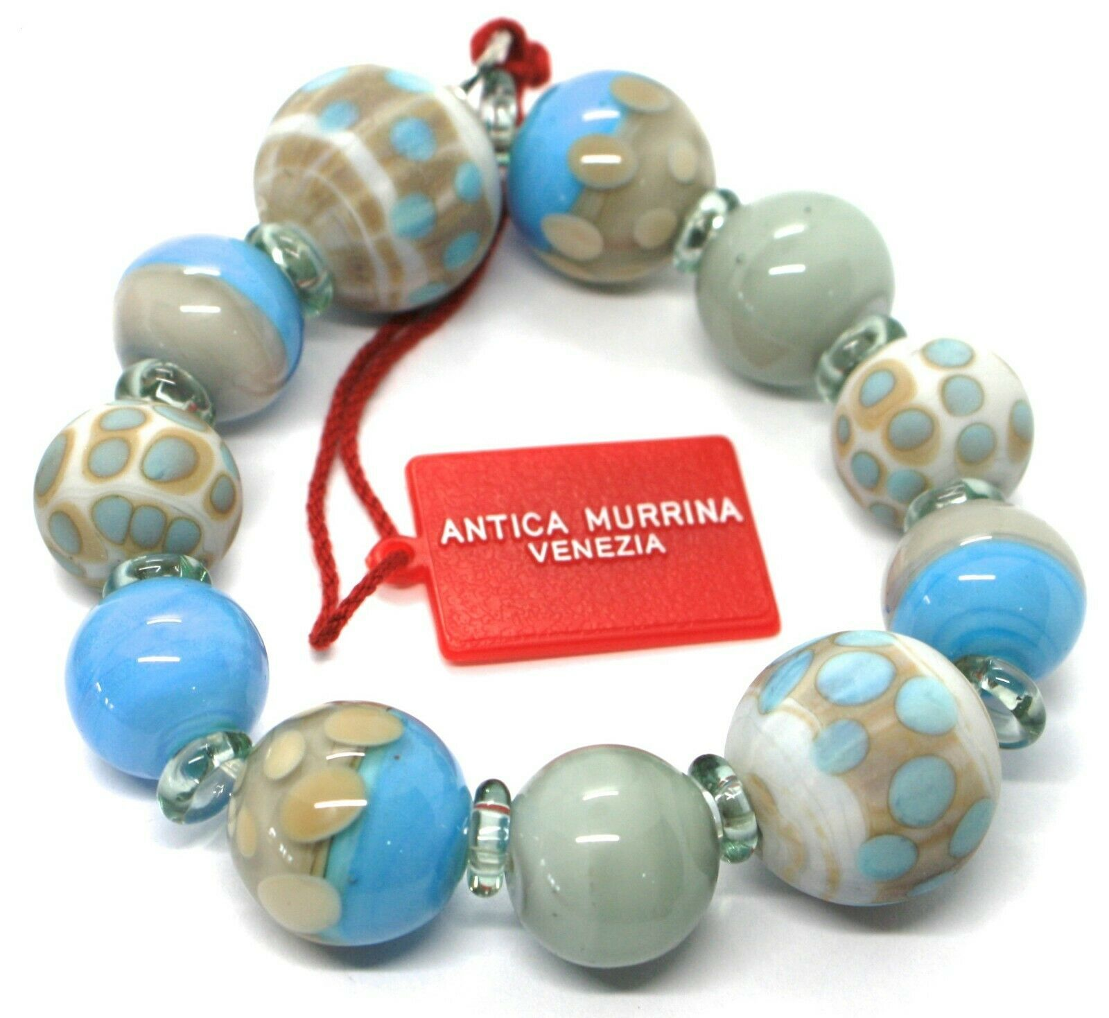 Bracelet Antica Murrina Venezia, BR717A07 Azure Gray, Sphere Polka dot, Speckled