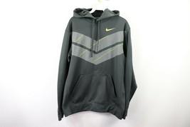 Nike Mens Medium Therma Fit KO Chevron Pullover Hoodie Hooded Sweatshirt Gray - $38.56