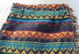 Women Skirt Aztec Vintage Western FRINGE high waist Jean wrap USA  Small S 5 - $11.99