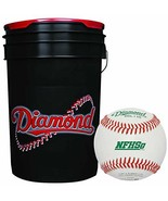 6-Gallon Bucket with 30 Diamond DOL-1 HS NFHS Leather Baseballs - $353.16