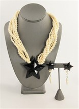 VINTAGE Jewelry NAUTICAL STAR HORN BOVINE BONE STATEMENT NECKLACE & EARR... - $55.00