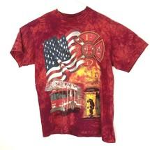 VTG The Mountian Men's Firefighter Mega Print American Flag T-Shirt Size L - $49.50