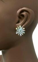 "1.1/8"" Long Aurora Borealis Crystal/Rhinestones Clip On Earrings Evening,Bridal - $14.20"