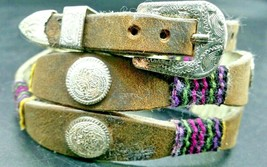 BROWN HATBAND Scalloped Leather w/COLOR WRAP 2 + SILVER CONCHOS & Buckle... - $24.13