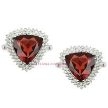 925 Sterling Silver Natural Garnet & C Z Gemstone Men's Amazing Cufflinks J - $115.00