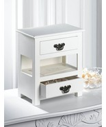 SMALL COUNTERTOP Double Drawer MINI Table Storage White Wood Cabinet 1 F... - $38.89