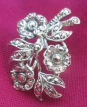 J88 Vintage Sterling Silver Floral Dress Scarf Fur Clip Marcasites Stamped - $28.46