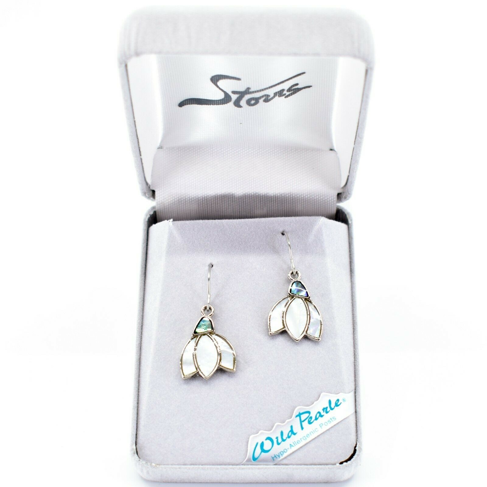 A.T. Storrs Wild Pearle Abalone Snowdrop Flower Hook Earrings