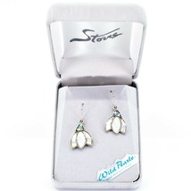 A.T. Storrs Wild Pearle Abalone Snowdrop Flower Hook Earrings image 1