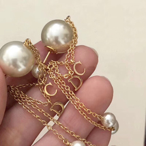 Authentic Christian Dior 2019 CD LOGO CHAIN PEARL TRIBALES DANGLE DROP Earrings image 3