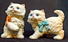 Two Homco White Cat Figurines Fluffy Kittens Pink & Blue Bows  #1428 - $13.45