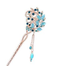 "5.9"" Chinese Traditional Metal Opal Fringe Ladies/ Girls Hair Stick, BLUE"