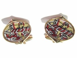 UNUSUAL RED BLACK YELLOW ABSTRACT CUFFLINKS VINTAGE SCENE CAFE SIGNED HI... - $23.00