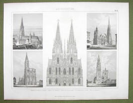 ARCHITECTURE European Cathedrals Cologne Vienna - 1870s Engraving Print - $12.15