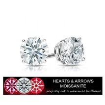 2.00 Carat Moissanite G Color VVS1 Clarity Stud Earrings 14KGold (Hearts... - $599.00