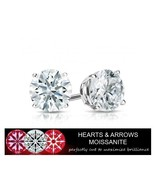 2.00 Carat Moissanite G Color VVS1 Clarity Stud Earrings 14KGold (Hearts... - $599.00