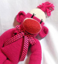 Sock Monkey Hand Knit Pink Stuffed Animal Plush Fuchsia Toy Handmade - $14.84