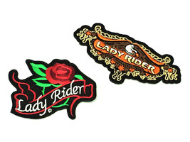 Lady Rider Patches Rose Motorcycle Embroidered Iron On Ladies Biker T Sh... - $14.75