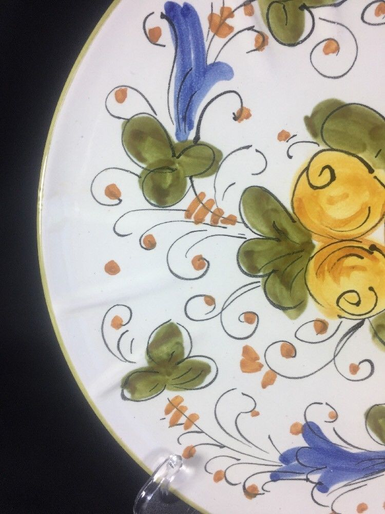 """Italian Fruit Floral Orange Green Trim Divided Serving Plate Italy 9.5"""""""