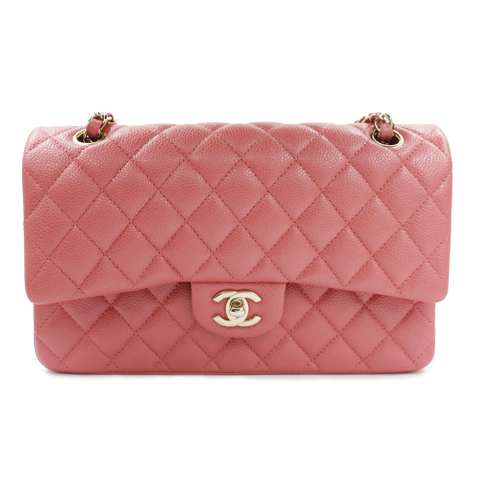4b7ddaeb8674 Chanel Shiny Pink Quilted Caviar Medium Classic Double Flap Bag  A01112Y83470 - $6,999.00