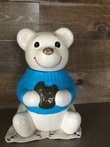Vintage Metlox Blue Sweater Teddy Bear Cookie Jar - $74.87