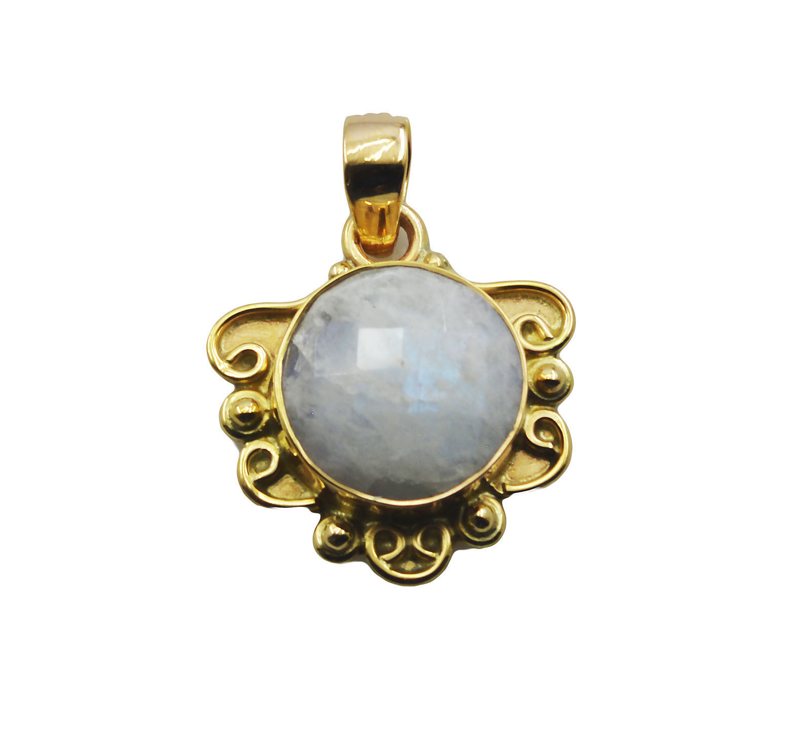 resplendent Rainbow Moonstone Gold Plated White Pendant Fashion handcrafted US