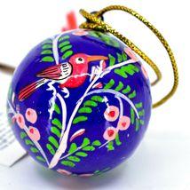 Asha Handicrafts Hand Painted Papier-Mâché Blue Bird Holiday Christmas Ornament  image 4