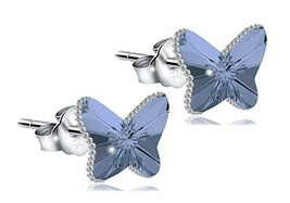 ChicOpick Swarovski Butterfly Earrings, Double Crystal,925 Silver (Sapph... - $30.68