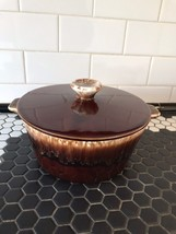 Vintage USA MCP McCoy Pottery BROWN DRIP ROUND CASSEROLE WITH HANDLES & LID - $22.76