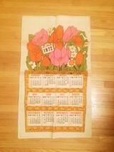 Vintage 1972 Linen Kitchen Tea Towel/Calendar image 1