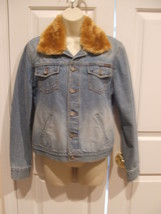 new never worn CALVIN KLEIN denim  DETACHABLE faux fur  jean jacket size... - $68.31