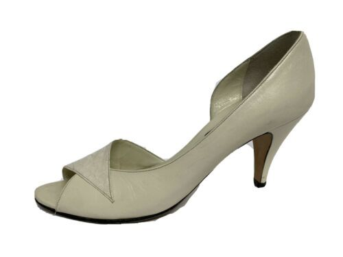 Anne Klein women's shoes vintage heels leather open toe made in Italy size 8N - $21.90