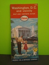 Vintage 1961 Esso Washington DC & Vicinity Road Map & Visitor Guide Gas Oil - $10.30