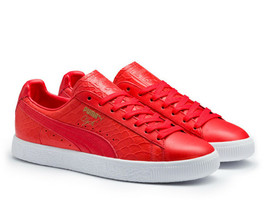 Puma Clyde Dressed Peau de Serpent Rouge 361704-03 Sz 8.5 Animal Paquet - $99.28