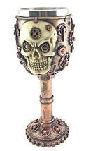 Bellaa 20966 Steampunk Wine Goblet Chalice Gear Head Skull 7oz Wine Cup - $18.76