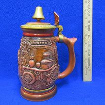 Avon Beer Stein Tribute to American Firefighters Mug Bell on Lid 1989 Fi... - $15.83