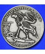 Eagle skeleton hobo nickel on walking liberty half dollar coin reverse thumbtall