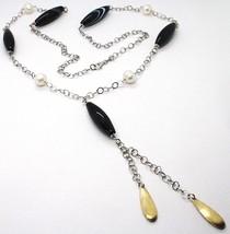 Collier Argent 925, Agate Larmée, Perles, Longue 85 CM, Chaîne Rolo, Gouttes image 2