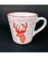 Pfaltzgraff Merry Little Christmas Reindeer Deer Red White Mug Cup 16 oz - $29.69