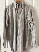 Ralph Lauren Long Sleeve Button Down Shirt Mens 15 1/2x 34 gray pink striped - $13.85