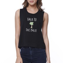 Talk To The Palm Womens Black Sleeveless Tropical Design Crop Top - $14.99