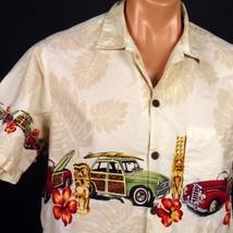 Bishop Street Hawaiian Aloha Shirt Mens M Woodies Surfboards Tiki Gods - $16.82