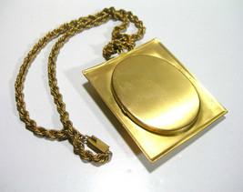 Antique Mourning Photo Locket Large Necklace with Black Molded Glass Gol... - $115.00