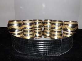 Set of 6 Brass Silver & Gold Tone Napkin Rings Ornate Swag Design Made I... - $14.99