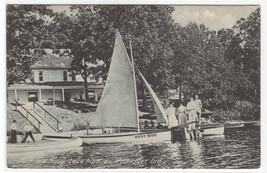 Boating Sail Boat Canoe Fairview Hotel Lake Manitau Rochester Indiana postcard - $6.44