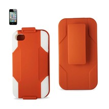REIKO IPHONE 4/ 4G HYBRID HEAVY DUTY HOLSTER COMBO CASE IN WHITE ORANGE - $9.99