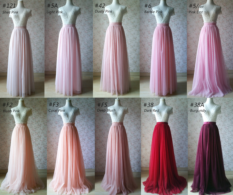 PINK High Waist Full Length Tulle Skirt Pink Wedding Dress Bridesmaid Maxi Skirt