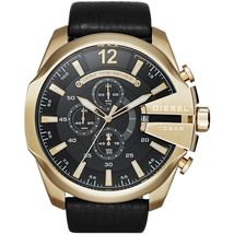 Diesel DZ4344 Mega Chief Black and Gold Leather Chronograph Mens Watch - $141.25 CAD