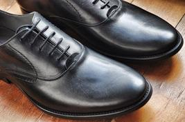Casual Dress Stylish Handcrafted Mens Black Premium Genuine Leather Oxford Shoes - $139.90+