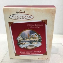 2002 Deer Creek Cottage Kinkade Hallmark Christmas Tree Ornament MIB PriceTag H5 - $12.38